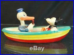 1930s Disney Celluloid Donald Duck & Mickey Mouse Rowboat Toy