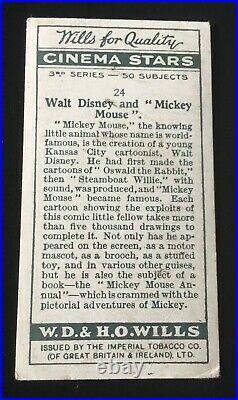 1931 WD & HO Wills WALT DISNEY & MICKEY MOUSE #24 Rookie Card RC Cinema Stars