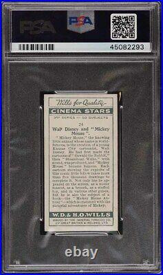 1931 Wills Cinema Stars 3rd Series Walt Disney Mickey Mouse ROOKIE RC #24 PSA 8
