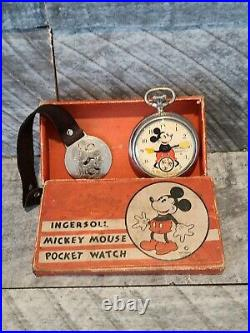 1933 Vintage Ingersoll Mickey Mouse Pocket Watch Original Box Working