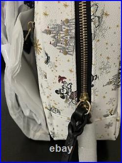 2020 Disney Parks Dooney & Bourke Christmas Holiday Mickey White Mini Backpack