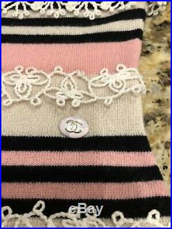 $2600 CHANEL 11C Lace Knit Pink Cashmere Dress 34 36 2 4 6 SWEATER CC TOP S 2011
