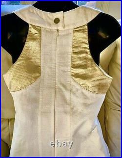 $2,400 CHANEL 2015 Gold White DRESS 36 38 40 4 6 8 15p Top M Metallic