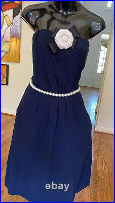 $3300 Chanel Pearl Belt Camellia 36 38 40 4 6 8 Strapless Dress Gown M Blue M