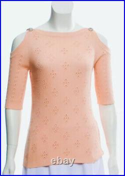 $3400 CHANEL 2019 Cold Shoulder Logo 36 38 40 4 6 8 Dress Sweater Top Shirt 19s