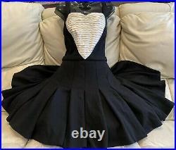 $3,700 Chanel 07a Black Ruffle Heart Dress 36 38 40 4 6 8 Tuxedo Valentine M