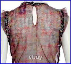 $4k CHANEL 2005 Paris TWEED Ruffle 38 40 42 6 8 10 Shirt TOP Blouse 05c Fantasy