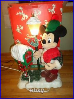 Animated Mickey Mouse Christmas Lantern Lightpost Music Light Disney Store Lot 1