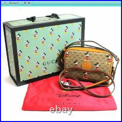 Auth Gucci Disney Collaboration Micro GG Shoulder Bag Mickey Mouse 602536 Brown