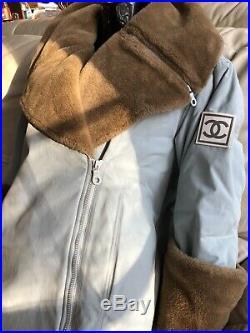 CHANEL 01a SKI VINTAGE FUR 34 36 38 40 2 4 6 8 Logo COAT Puffer Jacket Sweater S