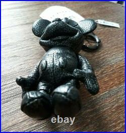 COACH x Disney Mickey Mouse Leather Key Fob Keychain Silver Metallic 59152 Charm