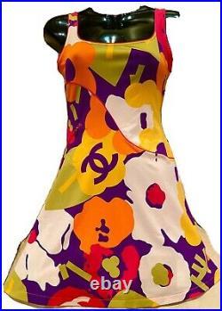 Chanel Vintage 01p 34 36 38 2 4 6 PRINT Swim DRESS Swimwear Swimsuit Coverup Top