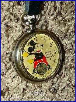 Disney 1934 Mickey Mouse Pocket Watchby Ingersoll+ Fob Set+ Works + Keeps Time