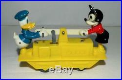 Disney 1955 Near Mint Mickey Mouse/donald Duck Handcar Set+scarce Original Box