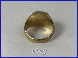 Disney Cast Member Mickey Mouse 10K Gold Ring 1958 + 20 Yr & Service Award Pins