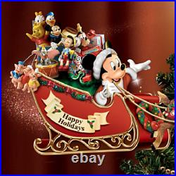 Disney Christmas Tree Top Ornament Mickey & Friends Rotating Sleigh LED Lights
