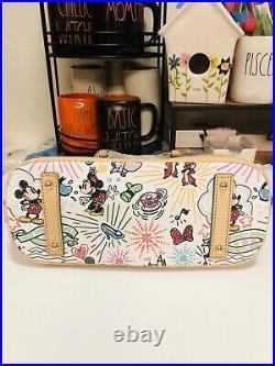 Disney Dooney & Bourke Sketch Zip Satchel Crossbody. Tinkerbell, Mickey Mouse