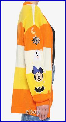 Disney Halloween Candy Corn Cardigan Mickey Minnie Mouse Size XL X-Large In Hand