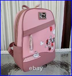Disney Loungefly Mickey Minnie Balloon Mini Backpack & Card Holder Keychain NWT