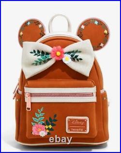 Disney Loungefly Mickey Minnie Mouse Fall Autumn Hallon Floral Mini Backpack NWT
