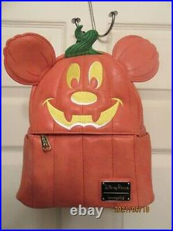 Disney Loungefly Mickey Pumpkin Mini Backpack Halloween New withtags Retired Print