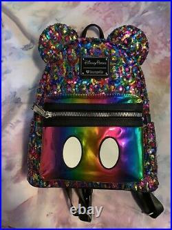 Disney Loungefly mini backpack Mickey Mouse rainbow sequin RARE