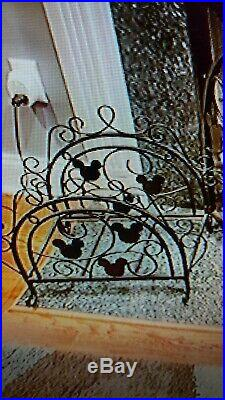 Disney MICKEY MOUSE FIREPLACE LOG HOLDER wrought iron Mickey Heads HTF RARE