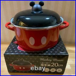 Disney Mickey Mouse Cast Iron Enamel Kitchen Red Black Both Hands Pan IH Gas New