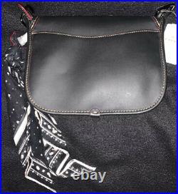 Disney Mickey X Coach Patricia Saddle Black Leather Mickey Patches Purse F59355