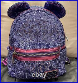 Disney Parks Loungefly Purple Potion Sequined Mini Backpack
