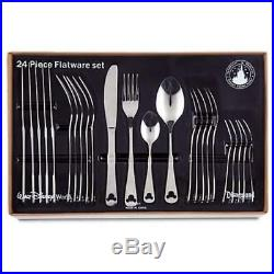 Disney Parks Mickey Mouse Icon 24-Piece Flatware Silverware Set Stainless Steel