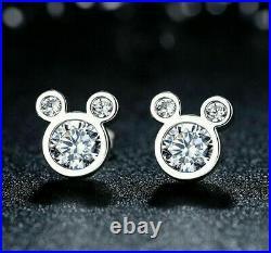 Fancy Disney Mickey Mouse Bezel Set Earrings 2.63 Ct VVS1 Diamond 14k White Gold