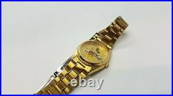 Genuine Gold Tone SEIKO Mickey Mouse Date Watch Very Rare Unique Disney Watch