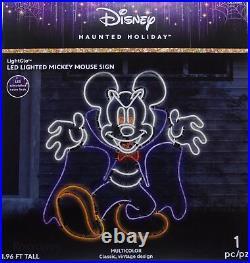 Halloween Haunted Disney 1.96 ft LightGlo Mickey Mouse Vampire Sculpture Sign