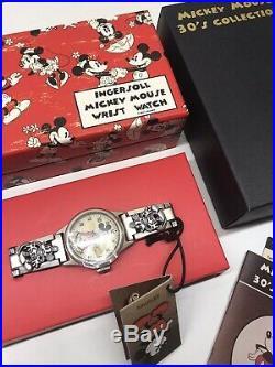 Ingersoll Mickey Mouse 30s Wrist Watch Mechanical Disney Bracelet New Boxed