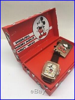 Ingersoll Mickey Mouse 30s Wrist Watch Watch Mechanical Disney 5 Notch New Box