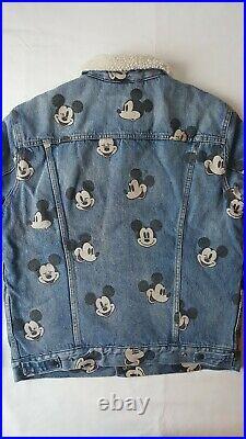 Levi's x Mickey Mouse Disney Type 3 Sherpa Trucker Denim Jean Jacket NEW Large