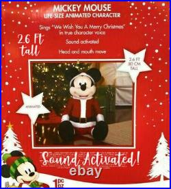 Life Size Animated Mickey Mouse Singing Santa Gemmy Disney Christmas Prop Grinch