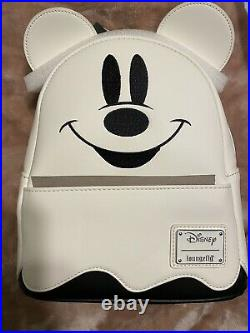 Loungefly Disney Ghost MICKEY MOUSE Glow in the Dark MINI Backpack New In Hand