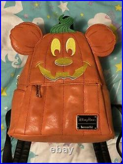 Loungefly Disney Parks Backpack Halloween Pumpkin Mickey 2019 Rare Limited