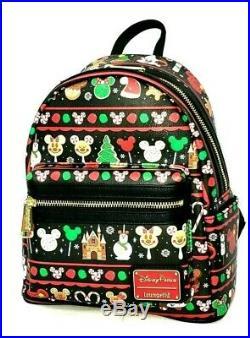 Loungefly Disney Parks Mickey Mouse Holiday Park Snacks Festive Mini Backpack
