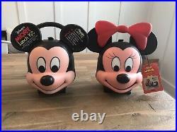 Mickey & Minnie Mouse Aladdin Lunch Kit Box Heads Unused Vintage Disney NEW