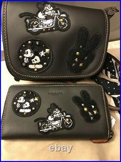 NEW Disney X Coach Leather Mickey Mouse Patches Bag & Zip Wallet F59355 + F59340