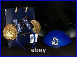 NEW Disneyland Club 33 50th Anniversary BLUE Mickey & Minnie Mouse Ears