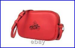 NWT COACH x DISNEY Mickey Crossbody Pouch Purse Leather Bright Red Pink F59072