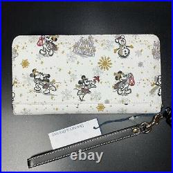 NWT Disney Dooney & Bourke Holiday Wallet Christmas Mickey Mouse Minnie Snow