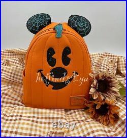 NWT Disney Loungefly Mickey Pumpkin Jack-O-Lantern Halloween Mini Backpack
