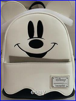 NWT LOUNGEFLY Disney Mickey Mouse Ghost GLOW-IN-THE-DARK Halloween Mini Backpack