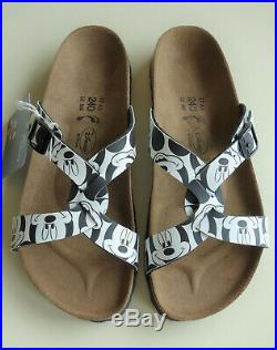 New BIRKI's by BIRKENSTOCK Disney Sandals SYLT Mickey Pattern Black US6 EU37 UK4