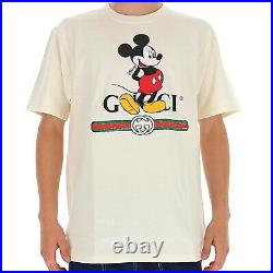 New Gucci Men's White Disney Cotton Crewneck T-Shirt Tee Top Small